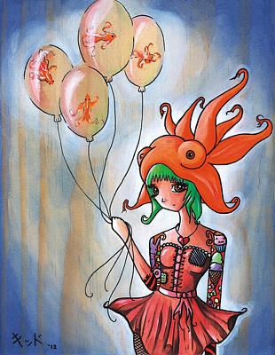 Manga Painting - Goldfish Girl by Jen Kiddo