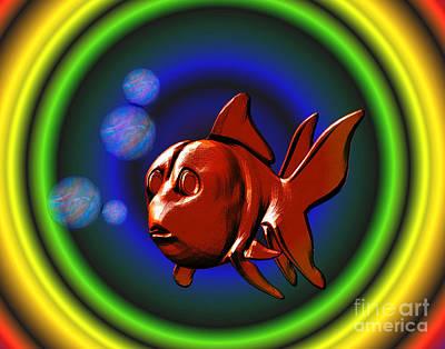 Goldfish Digital Art - Goldfish In Rainbow Colors by Smilin Eyes  Treasures