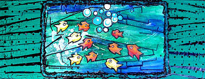 Fish Underwater Painting - Goldfish Pac Man by Genevieve Esson