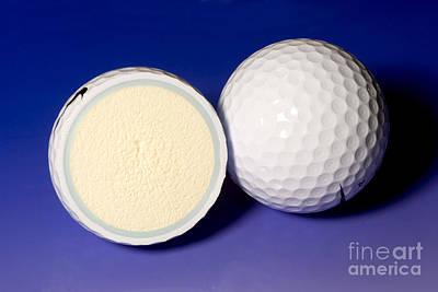 Cut In Half Photograph - Golf Balls by Ted Kinsman