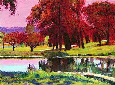 Plein Air Painting - Golf Course Dawn Plein Air by David Lloyd Glover