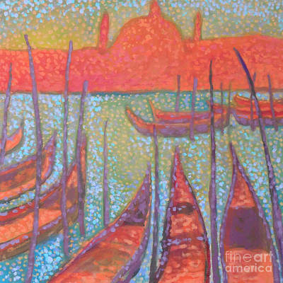 Pointillistic Painting - Gondolas by Andy Andrews
