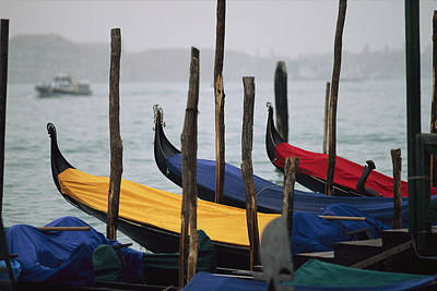 Docks Etc Photograph - Gondolas At Harbor On A Misty Day by Raul Touzon