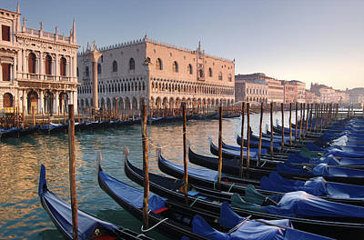 Beauty Mark Photograph - Gondolas Docked Outside Of Piazza San by Jim Richardson