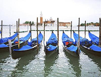 Gondolas In Venice  Art Print by Nian Chen
