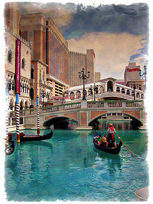Photograph - Gondolas On The Canal - Impressions by Ricky Barnard