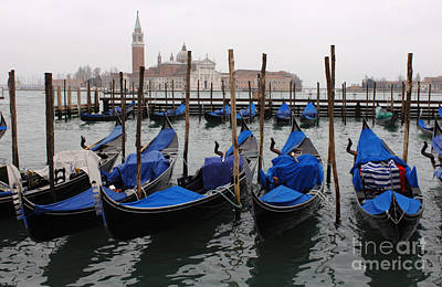 Gondolas The Grand Canal  Art Print by Bob Christopher