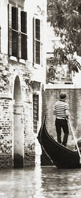 Photograph - Gondolier 1 Sepia by Vicki Hone Smith