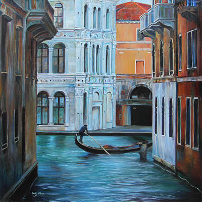 Gondolier In Venice Art Print by Emily Olson