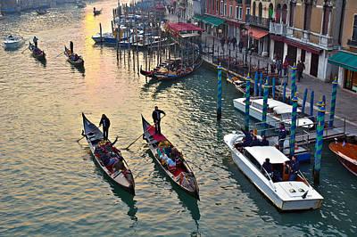 Photograph - Gondolieri At Grand Canal. Venice. Italy by Juan Carlos Ferro Duque