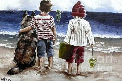 Dog Play Sea Painting - Gone Fishing - Rg23 by Rache Gerber