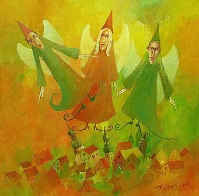Good Angels Art Print by Krzysztof Lozowski