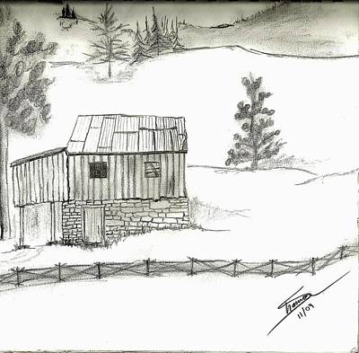 Old Barn Drawing - Good Old Days by Shannon Harrington