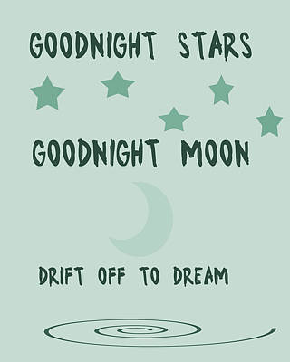 Shower Digital Art - Goodnight Stars Goodnight Moon by Georgia Fowler