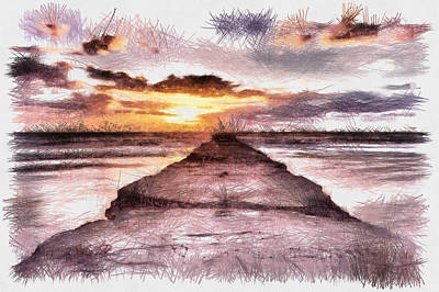 Photograph - Goodnight Sun - Sketch by Nicholas Evans