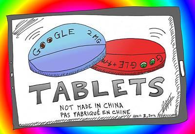 Pill Mixed Media - Google Tablets Cartoon by OptionsClick BlogArt