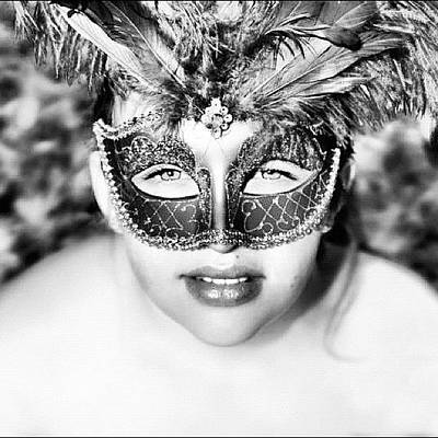 Young Girl Photograph - #gorgeous #mask #blackandwhite #young by Kimberly Hicks