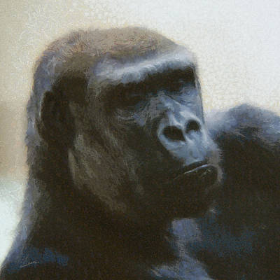 Digital Art - Gorilla Painterly by Ernie Echols