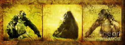 Digital Art - Gorilla Triptych by Rhonda Strickland