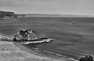 Photograph - Goscar Rock Tenby Mono by Steve Purnell