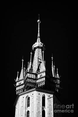 Cracovia Photograph - Gothic Spire And Crown Of The 14th Century Gothic Basilica Of The Virgin Mary In Rynek Glowny by Joe Fox