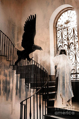 Fantasy Surreal Spooky Photograph - Gothic Surreal Grim Reaper With Large Eagle by Kathy Fornal