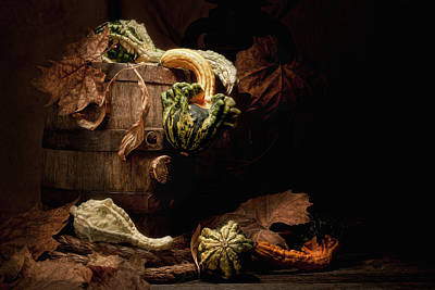 Squash Photograph - Gourds And Leaves Still Life by Tom Mc Nemar