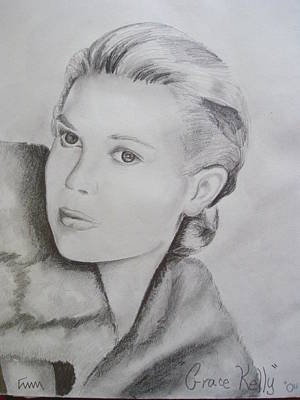 Grace Kelly Drawing - Grace Kelly by Emily Maynard