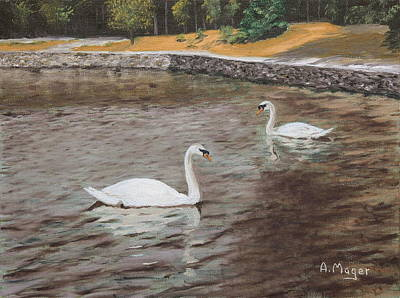 Painting - Graceful Swimmers by Alan Mager