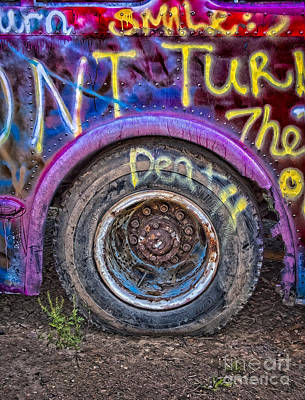Digital Art - Graffiti Bus Wheel by Susan Candelario