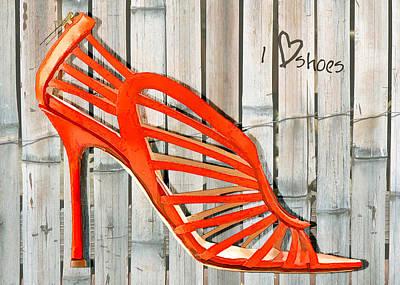 Stilettos Painting - Graffiti Orange Cage Stilettos by Elaine Plesser