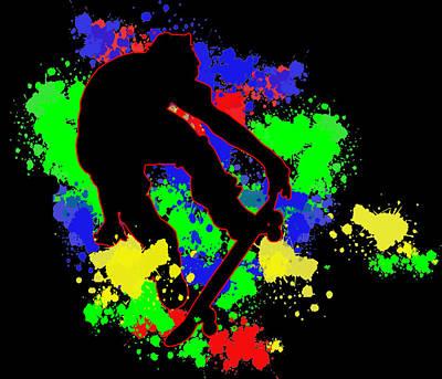 Extreme Sports Painting - Graffiti Paint Splotches Skateboarder by Elaine Plesser