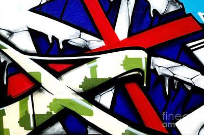 Graffiti Red Cross Art Print by Richard Thomas