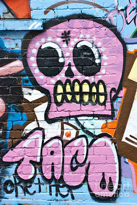 Vandalize Painting - Graffiti Skull On The Textured Wall by Yurix Sardinelly