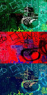 Spraypaint Painting - Graffiti Triptych by Randall Weidner