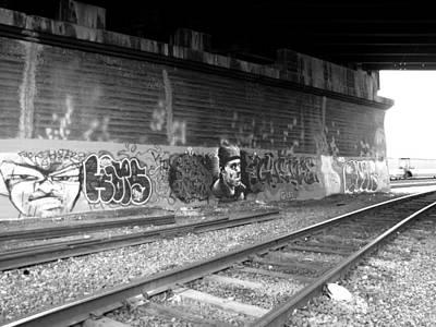 Photograph - Graffiti - Under Over Railyard Bw by Kathleen Grace