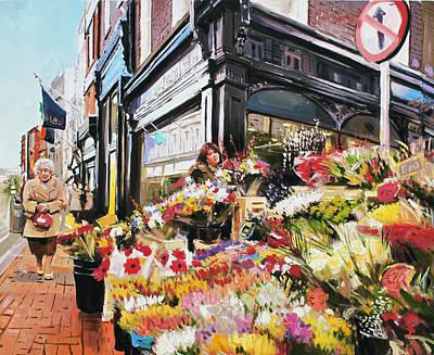 Grafton Painting - Grafton Street Flowers by Conor McGuire