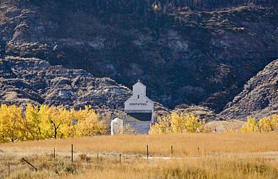 Farm Scene Digital Art - Grain Elevator Badlands Alberta by Mark Duffy