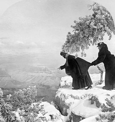 Stereograph Photograph - Grand Canyon: Sightseers by Granger