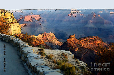 Grand Canyon Digital Art - Grand Canyon Walkway by Linda  Parker