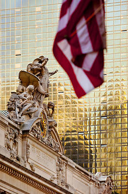 Photograph - Grand Central Flag by Brian Jannsen
