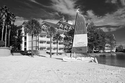 Photograph - Grand Floridian Resort Beach Walt Disney World Prints Black And White by Shawn O'Brien