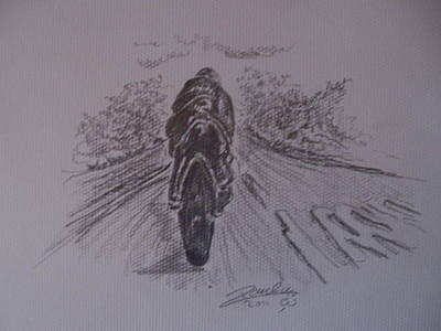 Ulster Grand Prix Drawing - Grand Prix by Paul Chestnutt