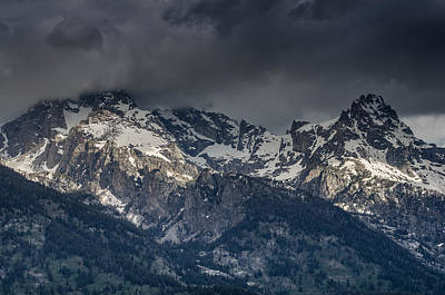 Grand Tetons Immersed In Clouds Art Print by Greg Nyquist