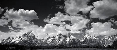 Grand Tetons Panorama In Monochrome Art Print by Ellen Heaverlo