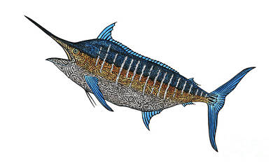 Blue Marlin Mixed Media - Grander Marlin by Carol Lynne