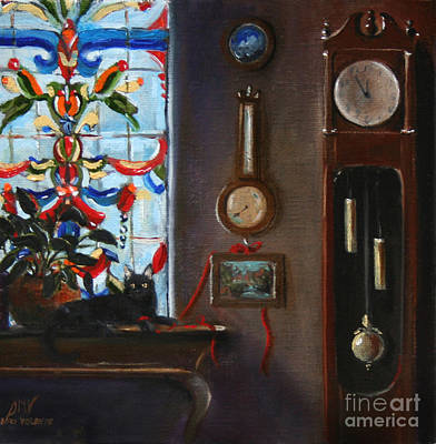 Painting - Grandfather Clock And Cat by Stella Violano