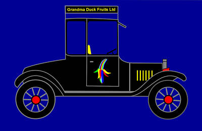 Virtual Car Digital Art - Grandma Duck Fruits Ltd - Virtual Car by Asbjorn Lonvig