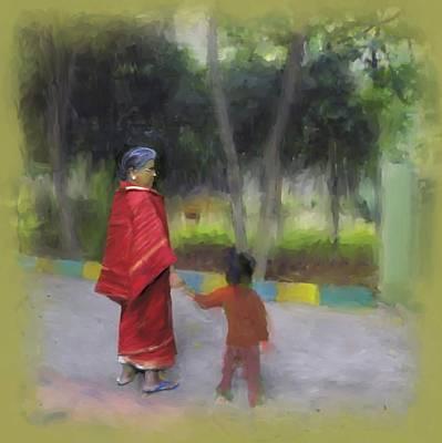 Digital Painting - Grandma Loves by Usha Shantharam