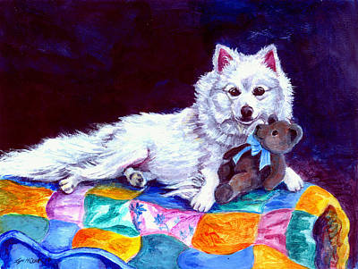 American Eskimo Dog Painting - Grandma's Quilt - American Eskimo Dog by Lyn Cook